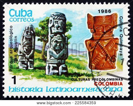 Cuba - Circa 1986: A Stamp Printed In Cuba Shows San Augustin Archaeological Park Megaliths And Quim