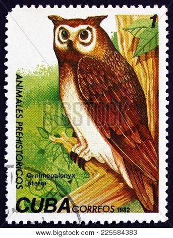 Cuba - Circa 1982: A Stamp Printed In Cuba Shows Cuban Giant Owl, Ornimegalonyx Oteroi, Is An Extinc
