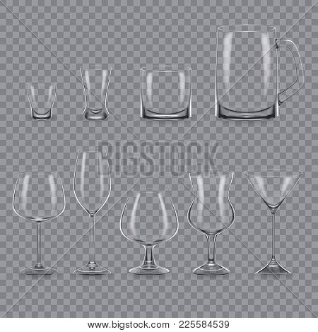 Set Of Realistic Template Of An Empty Transparent Alcohol Glasses And Mugs. Template, Glass Package,