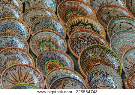 Background With Romanian Traditional Ceramic In The Plates Form, Painted With Specific Patterns From