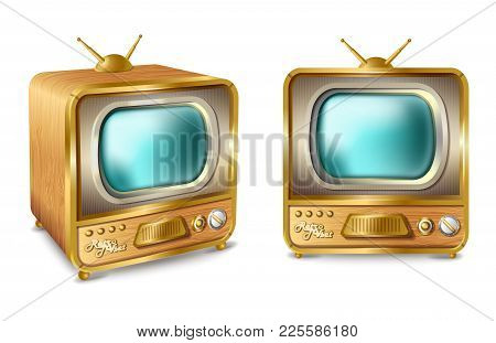 Vector Cartoon Retro Vintage Tv Set With Antenna. Old Style Television Box Home Video, Movie News Br