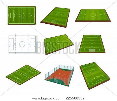 Set Of Realistic Football Field Template, Playground With Green Grass And Landscapes. Layout, Footba