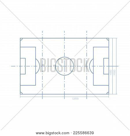 Scheme Of Realistic Football Field Template, Playground With Grass And Landscapes. Layout, Soccer Pl