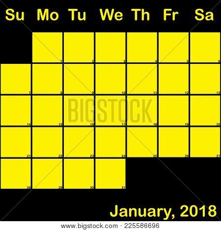 2018 January Yellow On Black Planner Calendar With Huge Space For Notes
