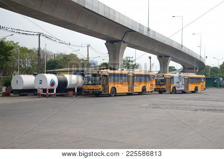 Bangkok, Thailand - December 14, 2016: City Buses At The Station On Filling With Gas Fuel