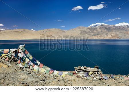 Tso Moriri Lake In The Karakorum Mountains Near Leh, India. This Region Is A Purpose Of Motorcycle E