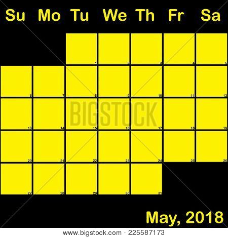 2018 May Yellow On Black Planner Calendar With Huge Space For Notes