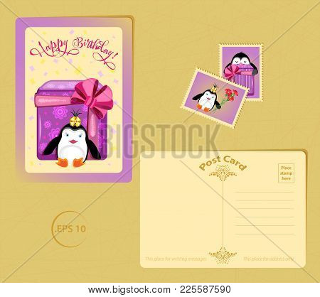 Vector Set For Birthday From Templates Cards From Post Card And Stamps