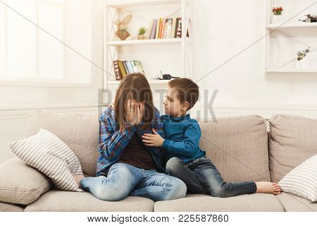 Boy Hugging His Crying Sister At Home, Closeup. Brother Supporting Sad Girl. Family Consoling And Ca