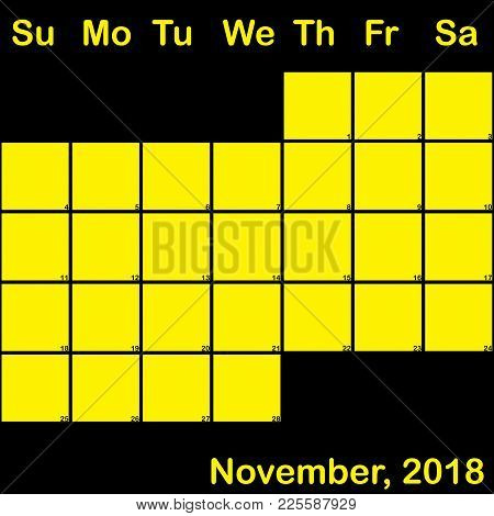 2018 November Yellow On Black Planner Calendar With Huge Space For Notes