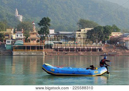 Rishikesh, India - November, 5th, 2017. Rafting On The Ganga River In Rishikesh