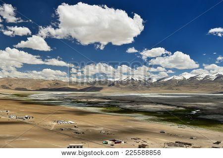 Tso Kar Lake In The Karakorum Mountains Near Leh, India. This Region Is A Purpose Of Motorcycle Expe