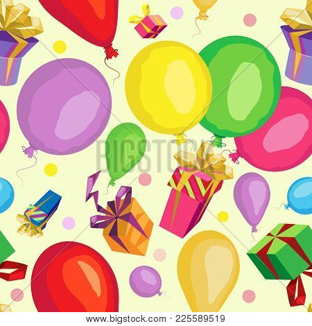 Vector Seamless Pattern. From Gifts And Balloons. On A Pastel Yellow Background With Round Confetti