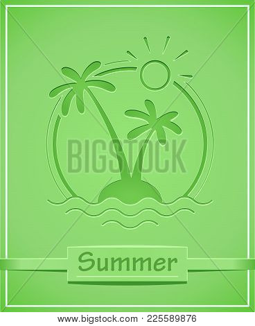 Palm At Tropical Island. Summer Holiday Symbol. Isolated White Background. Eps10 Vector Illustration
