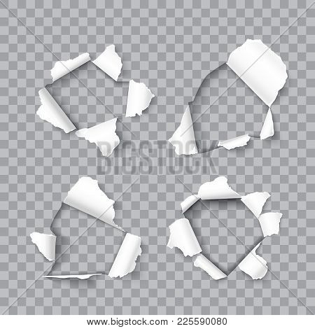 Set Of Realistic Holes In Sheet Paper Isolated On Transparent Background, Vector Design Element For