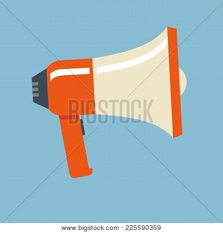 Loudspeaker Or Megaphone Vector Icon Isolated On A Light Background. Concept Of Promotion, Advertisi