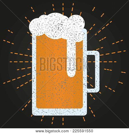 Isolated Flat Beer Glass. Vector Logo. Design Element For Restaurant, Pub, Beer Fest.
