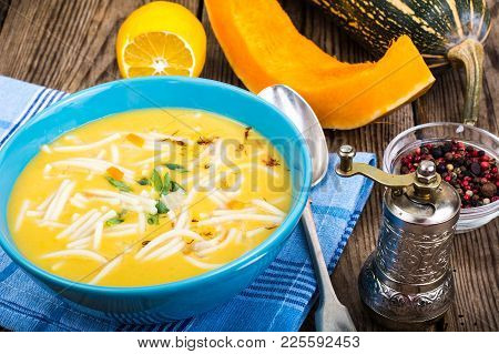 Vegetable Soup Puree With Pumpkin And Pasta. Studio Photo