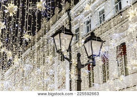 One Of Old Streets, It Is A Very Popular Pedestrian Street In Historical Center Of Moscow. Night Vie
