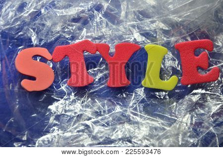 Word Style On An  Abstract Colored Background