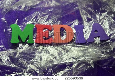 Word Media On An  Abstract Colored Background