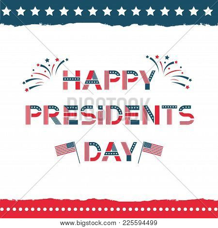 Happy Presidents Day Label. United States Federal Holiday Vintage Poster, Festive Country Political