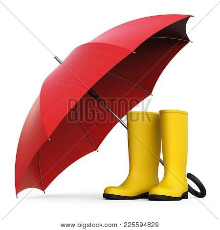 A Pair Of Yellow Rain Boots And A Red Umbrella Isolated On White Background 3d Rendering