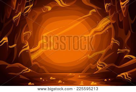 Treasury Cave. Goldmine. Cave With Gold. Cartoon Mountain Scene Background. Vector Illustration