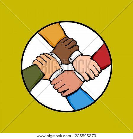 Cosmopolite Team Building Concept. Stack Of Business Hands. Cooperation Multinational Teamwork, Grou