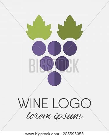 Colored Stylized Grapes Logo In Flat Style. Wine Or Vine Logotype Icon. Brand Design Element For Org