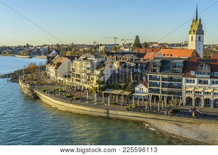 View From The Mole Tower Over Friedrichshafen At Lake Constance On November 18, 2015 In Friedrichsha