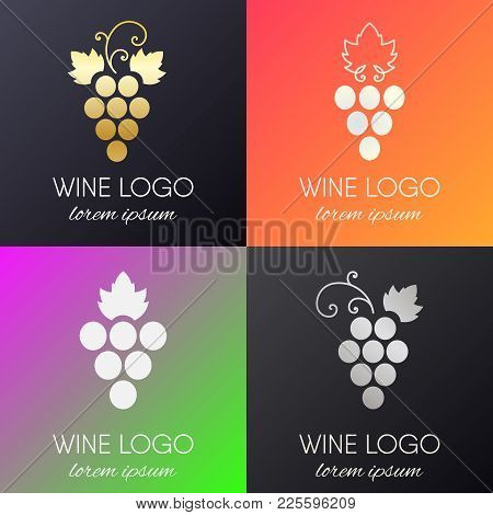 Set Of Grapes Logo. Wine Or Vine Logotype Icon. Brand Design Element For Organic Wine, Wine List, Me