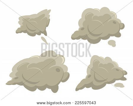 Fog Or Smoke After Exposion Set. Cartoon Flat Simple Gradient Style Vector Illustrations. Best For G