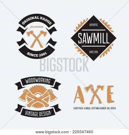 Set Of Vintage Carpentry, Woodwork And Mechanic Labels, Badges, Emblems And Logo. Vector Illustratio