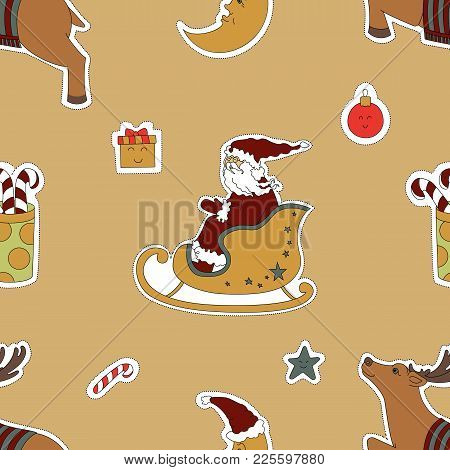 Christmas Template. Santa Claus In A Sleigh, Reindeer And Gifts Vector Illustration. Seamless Patter