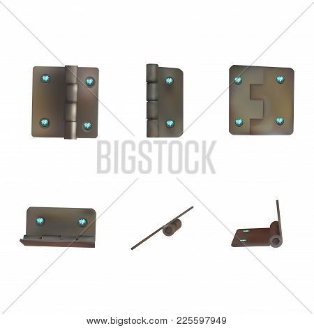Hinge With Blue Diamonds For Doors Vector Illustration. Set Of Brass Or Bronze Industrial Ironmonger