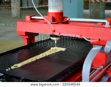 3d Printer That Printing A Liquid Dough. 3d Printer Printing Pancakes With Liquid Dough Different Sh