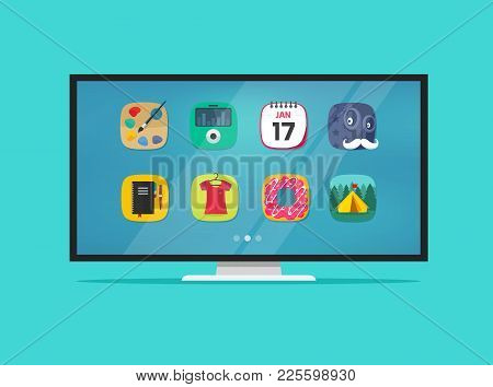 Smart Television Display Vector Illustration Isolated, Cartoon Flat Screen Tv With Smart Technology