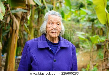 Portrait Of Senior Asian Grandma Walking Outdoors