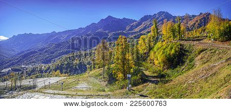 Autumn Panorama Of A Mountain Landscape, Near The City Of Sochi