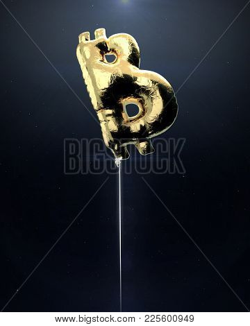 Glossy Metallic Golden Balloon In Shape Of Bitcoin Cryptocurrency Symbol. Financial Bubble Concept 3