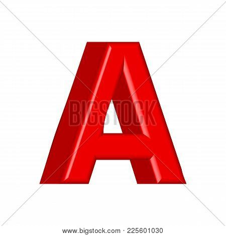 Font Set With Letters Glossy Red Paint Letters. 3d Render Of Bubble Font With Glint.