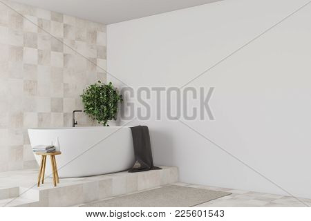 Tiled And White Bathroom Corner With A Tiled Floor, A Gray Rug And A White Tub Near A Potted Tree. 3