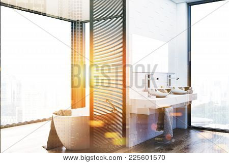 Hexagon Tile And White Wall Bathroom Interior With A Double Sink Standing On A Wooden Shelf And A Wh