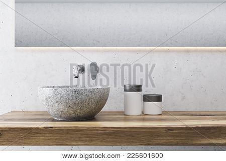 White Wall Bathroom Interior Close Up With A Long Wooden Shelf With A Gray Round Sink On It And A Ho