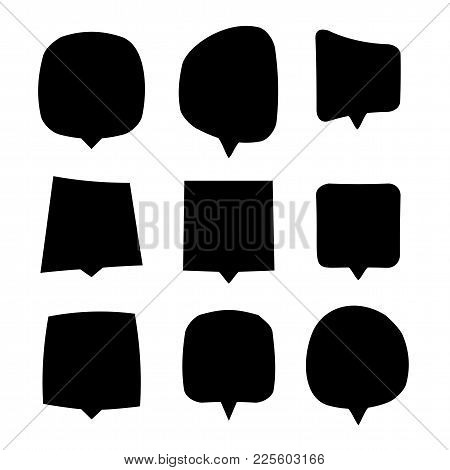 Black Speech Bubbles Set. Isolated Dialog Or Chat Clouds Collection On White Background. Thought Or