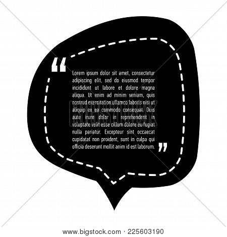 Quotation Mark Speech Bubble Design. Quote Sign Icon. Template Black Background With Copy Space. Tex