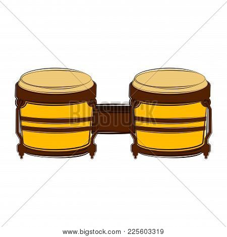 Sketch Of A Bongo Drum. Musical Instrument. Vector Illustration Design