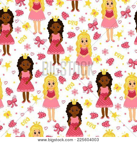 Little Princess. Seamless Pattern With Young Girls, Ladybug, Bows, Stars And Flowers. African Americ