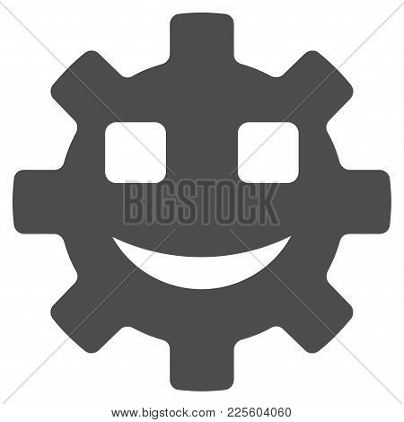 Happy Service Gear Smiley Vector Pictograph. Style Is Flat Graphic Gray Symbol.